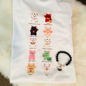 Cute Maneki Neko Lucky Cat T-shirtand bracelet set